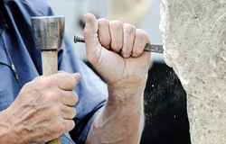 Stone sculptor Stock Photo
