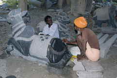Stone sculptors Royalty Free Stock Images