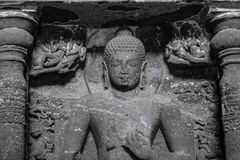 Stone Sculpture at Ajanta Caves. A beautiful stone sculpture at Ajanta Caves in Aurangabad, Maharashtra, India Stock Photo