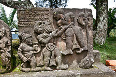 Stone sculpture in ancient Candi Sukuh on  Java, Indonesia Royalty Free Stock Photos