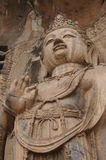 Stone sculpture of bodhisattva in Longmen Grottoes , Luoyang, Henan, China Stock Photo
