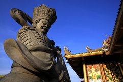 Stone sculpture of chinese god in chinese temple, China Royalty Free Stock Photo