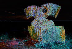 Stone sculpture in colored light Royalty Free Stock Image