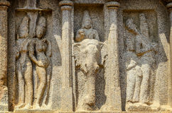 Stone sculpture at Five rathas complex Stock Photos