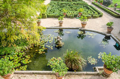 Stone sculpture of a flower in the artificial lake among the lilies and vegetation with algae in park at Villa Pamphili in Rome, c Royalty Free Stock Images