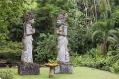 Stone sculpture in garden . Island Bali, Ubud, Indonesia Royalty Free Stock Photography