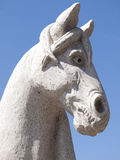 Stone sculpture of a horse head Stock Photo