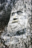 Stone Sculpture. Of the King of Dacia Provence on Danube shore mountain Stock Photos
