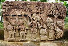 Stone sculpture and relief in Sukuh Temple. Central Java, Indonesia stock images