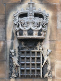Stone Sculpture,  Royal Crown,  Portcullis and Dragon Stock Photo
