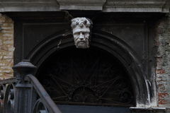 Stone sculpture showing head of man in Venice,. Italy Royalty Free Stock Photo