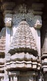Stone sculptures on the astonishingly. Beautiful Keshava Temple in Somnathpur, Karnataka, India royalty free stock photo
