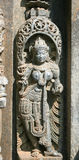 Stone sculptures on the astonishingly. Beautiful Keshava Temple in Somnathpur, Karnataka, India stock image
