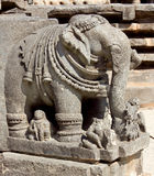 Stone sculptures on the astonishingly. Beautiful Keshava Temple in Somnathpur, Karnataka, India royalty free stock image