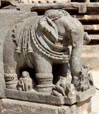 Stone sculptures on the astonishingly. Beautiful Keshava Temple in Somnathpur, Karnataka, India Royalty Free Stock Image