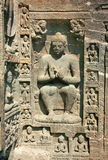 Stone sculptures on the Buddhist temples at Ajanta. Stone sculptures on the Ancient Buddhist Rock temples at Ajanta , Maharashtra, India Royalty Free Stock Images