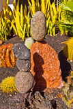 Stone sculptures build from volcanic stones Stock Photos