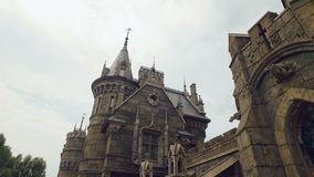 Stone sculptures on facade of castle, stained windows, gothic style, camera is moving stock video
