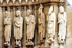 Stone sculptures on the facade of the cathedral Notre-Dame de Reims Royalty Free Stock Photos