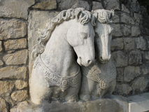 Stone sculptures of horses. Fountain with stone sculptures of horses Stock Photos