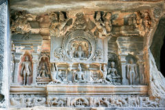 Stone sculptures on The Jain Temple. (Indra Sabha). Ellora Caves, near Aurangabad, India. 10th - 12th Century AD royalty free stock photography