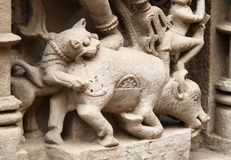 Stone sculptures of medieval India. Mythological story sculptures, carved in lime stone, at stepped well of Patan, Gujrat, India Stock Images