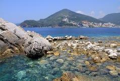 Stone sea beach. A beautiful stone beach on the Mediterranean sea. Budva, Montenegro Royalty Free Stock Photography