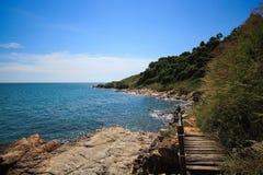 Stone sea coast at  Khao Laem Ya. Sea shore without sand but stone instead at Khao Laem Ya of Thailand Stock Image