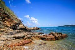 Stone sea coast at  Khao Laem Ya. Sea shore without sand but stone instead at Khao Laem Ya of Thailand Stock Photography