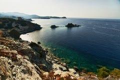 Stone sea coast. Stone coast under the hot sunlite Stock Image