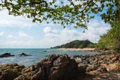 Stone sea in Thailand. Stone sea tree beach in Chanthaburi, Thailand Stock Photos