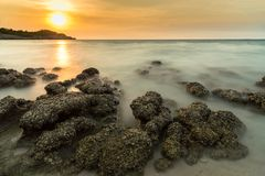 Stone in sea and wave on sunset time with long exposure at Ko Si. Chang District Chonburi, Thailand Stock Images