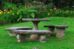 Stone seat garden Stock Image