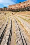 Stone seats in ancient Teatro Greco in Taormina Stock Image