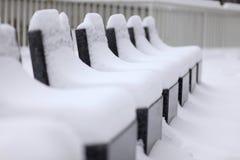 Stone Seats Snow-Covered stock photo