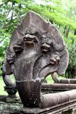 Stone serpent. Detail of five headed snake statue, Prasat Hin Khao temple Royalty Free Stock Images