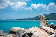 Stone shape strange in Thailand,Shape. Hin Ta and Hin Yai, some fascinating rock formations on Koh Samuis sea beach Stock Image