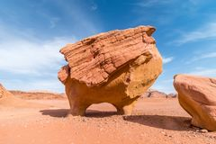 Stone shaped like cow or chicken in Wadi Rum desert on a sunny day, Middle East, Jordan royalty free stock image