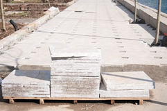 Stone sheet pavement in progress Stock Photos