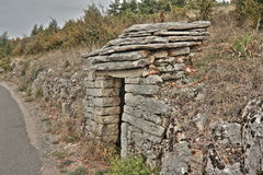Stone shelter in Lozere,  France Stock Photography
