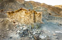 Stone shelter in the mountains of Fujeirah royalty free stock photography