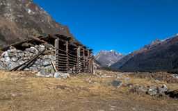 Stone shelter in the Yumthang river valley Sikkim, India. Royalty Free Stock Photo
