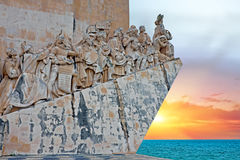Stone ship shaped Monument to the Discoveries in Lisbon Portugal Stock Images
