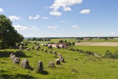 Stone ships in landscape Royalty Free Stock Image