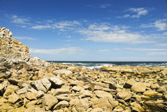 Stone shore on Cies Islands in Atlantic, Spain Stock Image