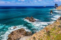 Stone shore with rocks of Atlantic ocean Stock Image