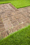 Stone sidewalk and grass. Abstract of footpath with sand stone and grass Royalty Free Stock Images