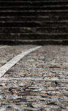 Stone sidewalk with stairs, blurred Royalty Free Stock Photo