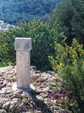 Stone sign 1. An empty stone sign on an archeological site environment Stock Photos
