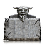 Stone sign board with devil head, copy space and clipping path. Royalty Free Stock Images
